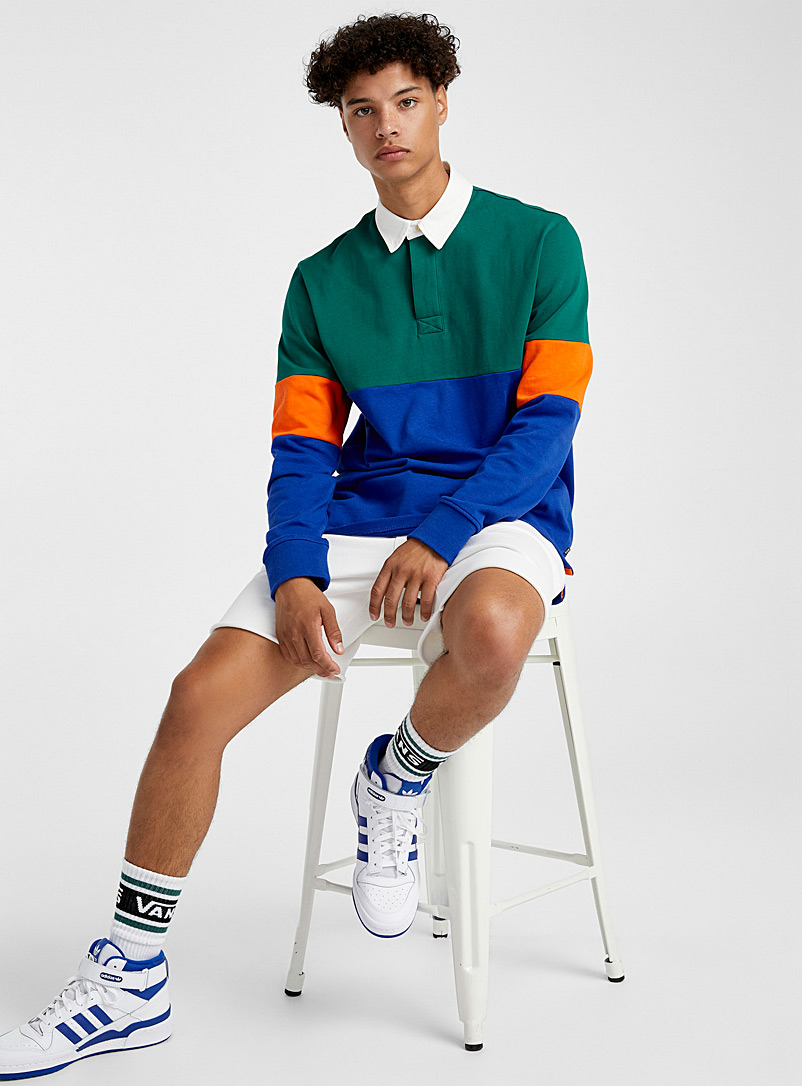 Djab Assorted Colour block rugby polo for men