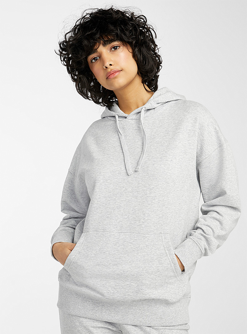 Miiyu x Twik Grey Organic cotton fleece-lined hoodie for women