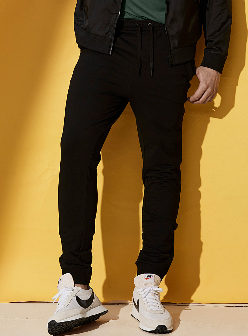 I.FIV5 Black Ribbed terry backed eco-friendly joggers for men