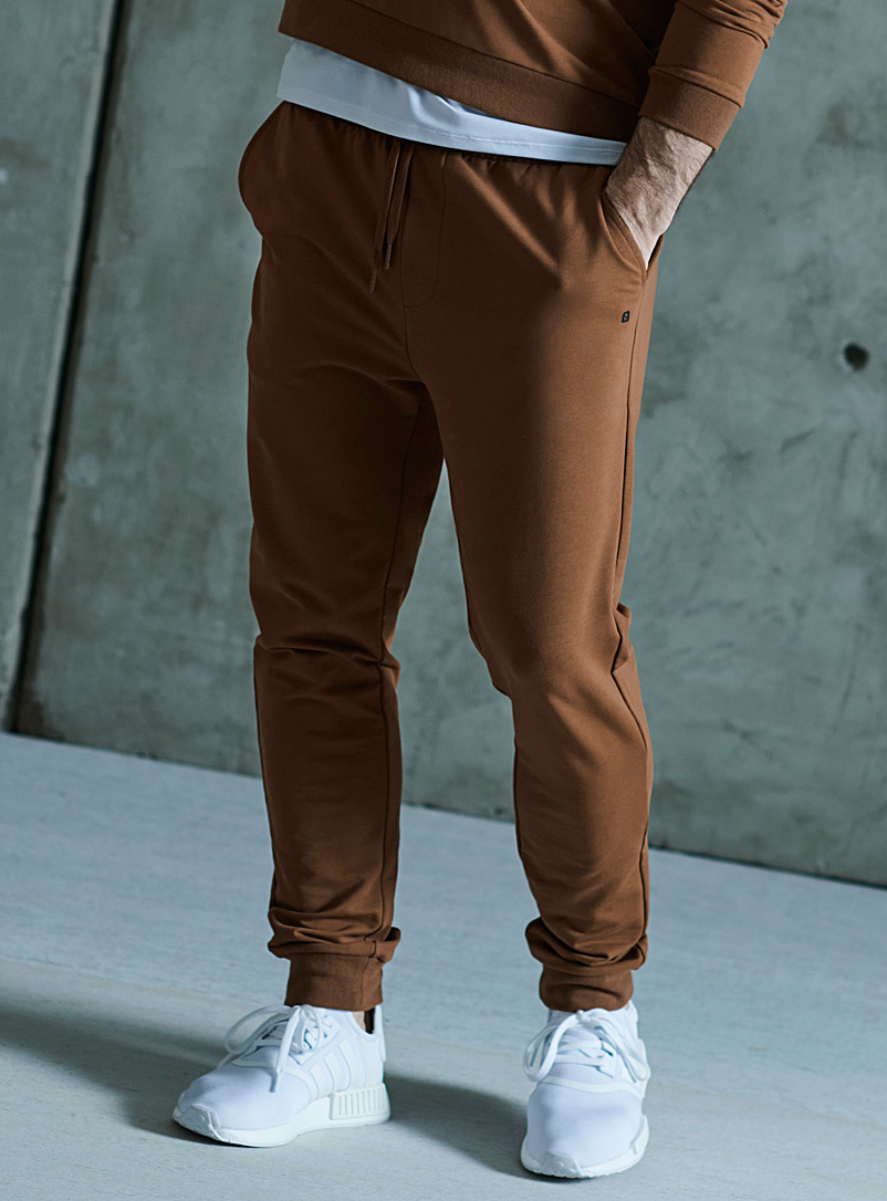 I.FIV5 Brown Ribbed terry backed eco-friendly joggers for men
