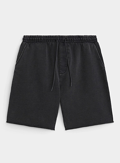 Faded French terry pull-on short