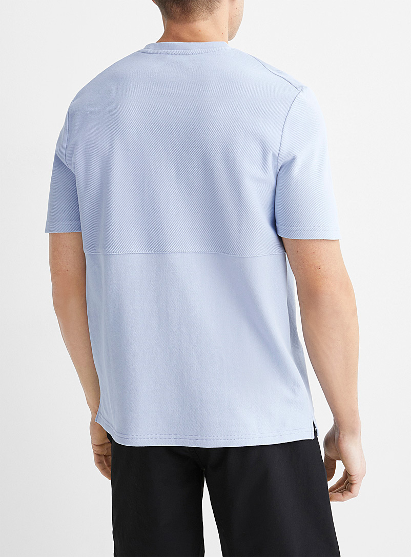 Le 31 Baby Blue Reverse-block textured T-shirt for men