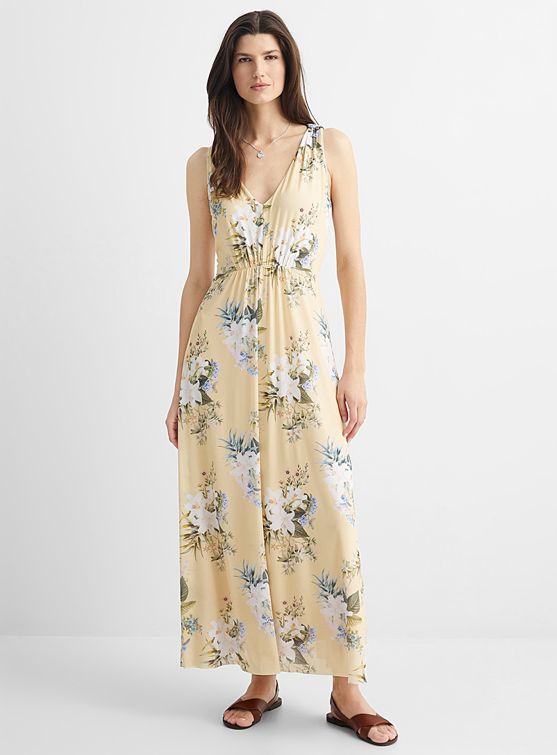 Contemporaine Patterned Ecru Floral micro-mesh maxi dress for women
