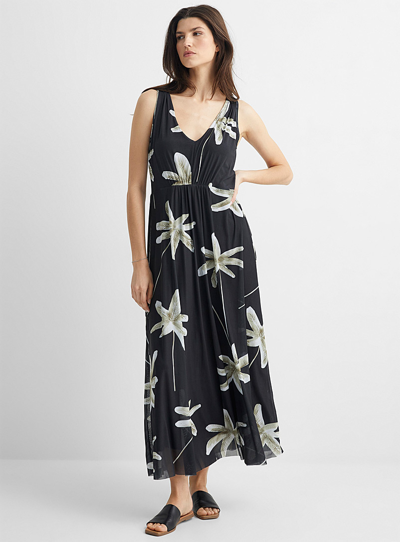 Contemporaine Patterned Black Floral micro-mesh maxi dress for women