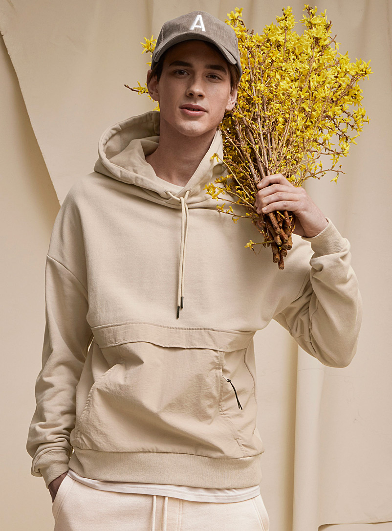Le 31 Sand Utility hoodie for men