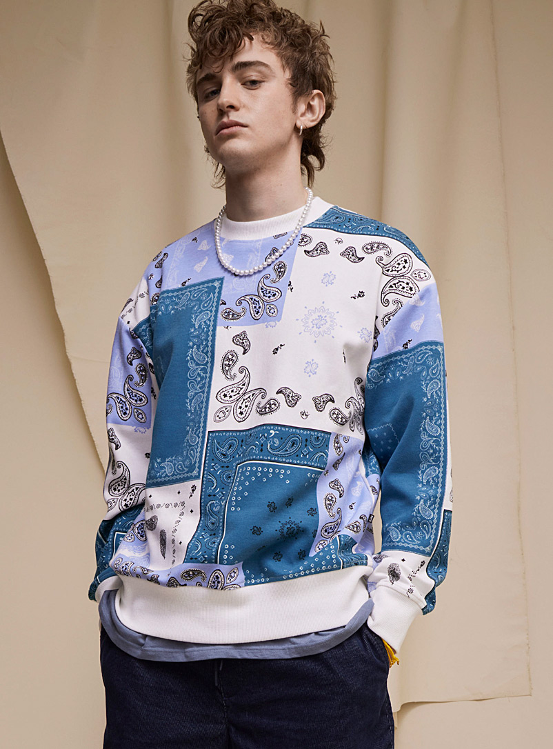 Djab Blue Thin bandana patchwork sweatshirt for men