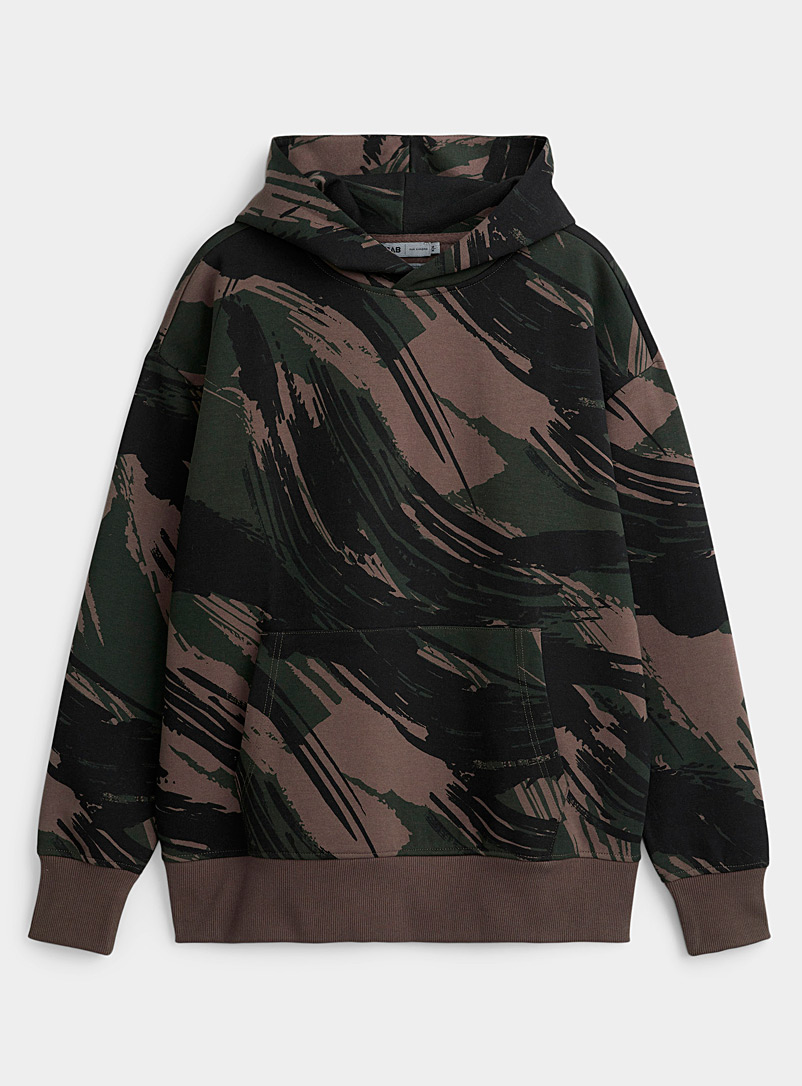 Djab Mossy Green Abstract camouflage hoodie for men