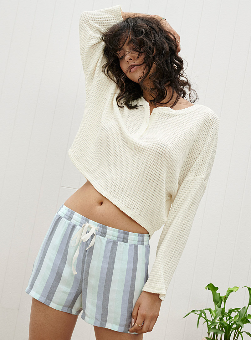 Miiyu x Twik Ivory White Openwork-knit lounge sweater for women