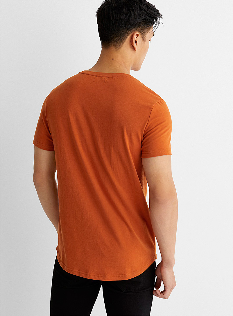 Le 31 Dark Orange Recycled polyester and organic cotton slim-fit T-shirt for men