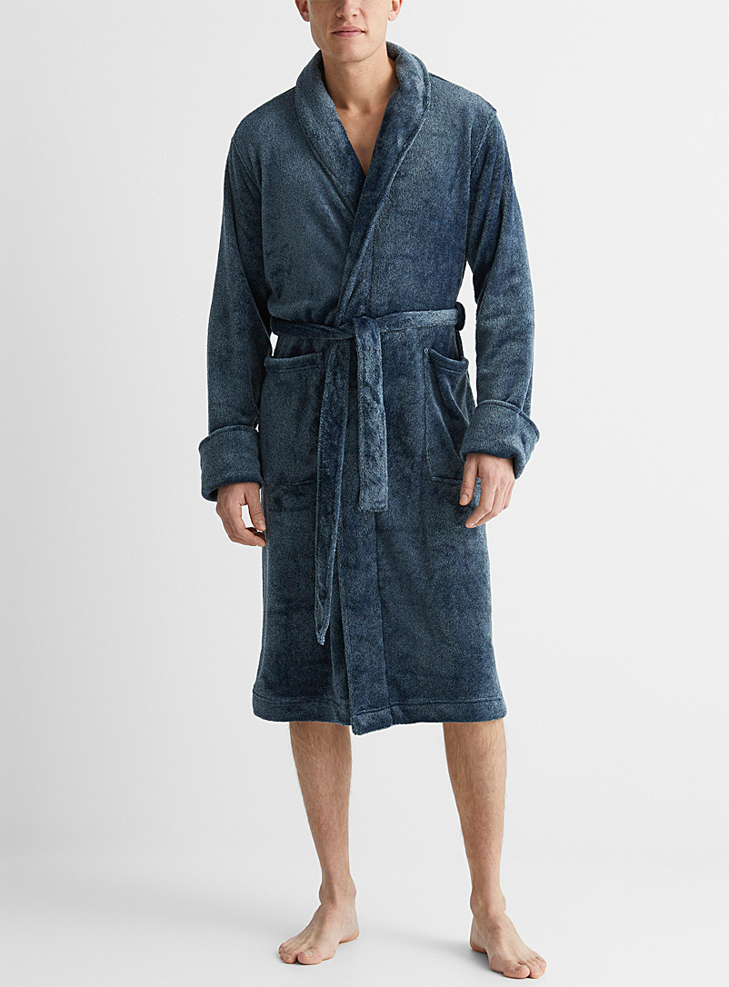 Le 31 Patterned Blue Heathered plush robe for men
