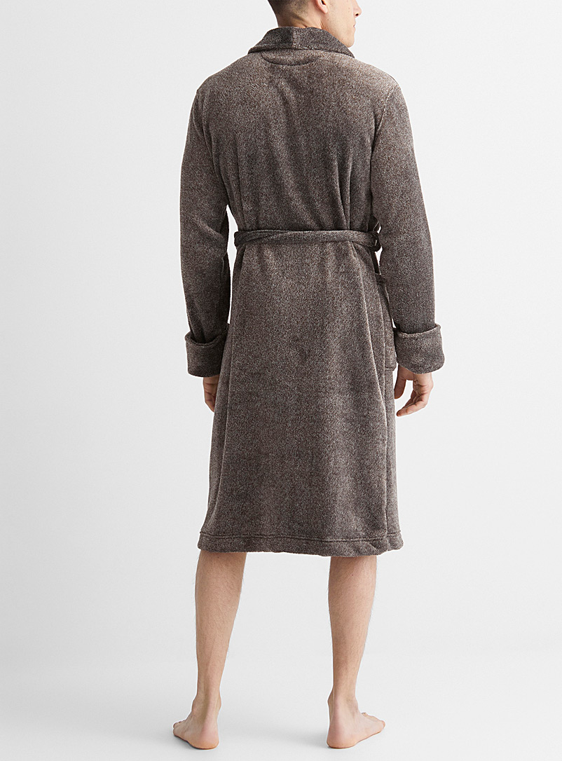 Le 31 Patterned Grey Heathered plush robe for men