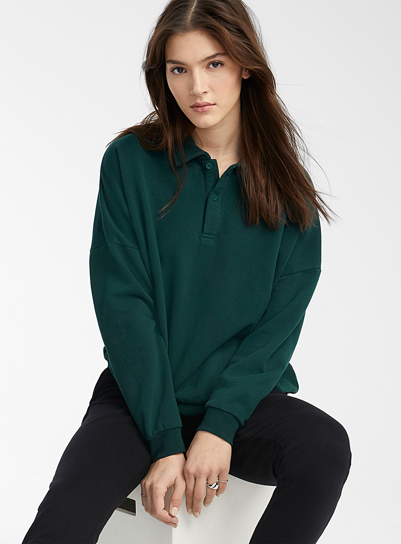 Twik Mossy Green Vintage organic cotton polo for women