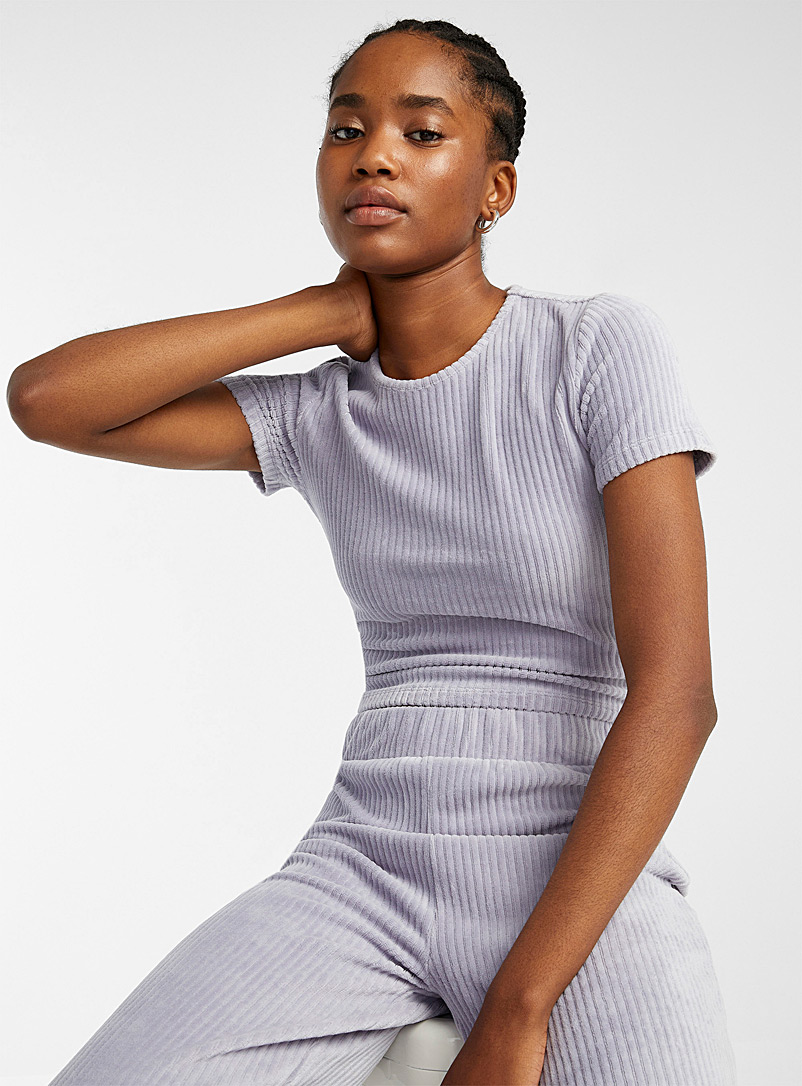 Twik Lilacs Cropped fitted corduroy tee for women