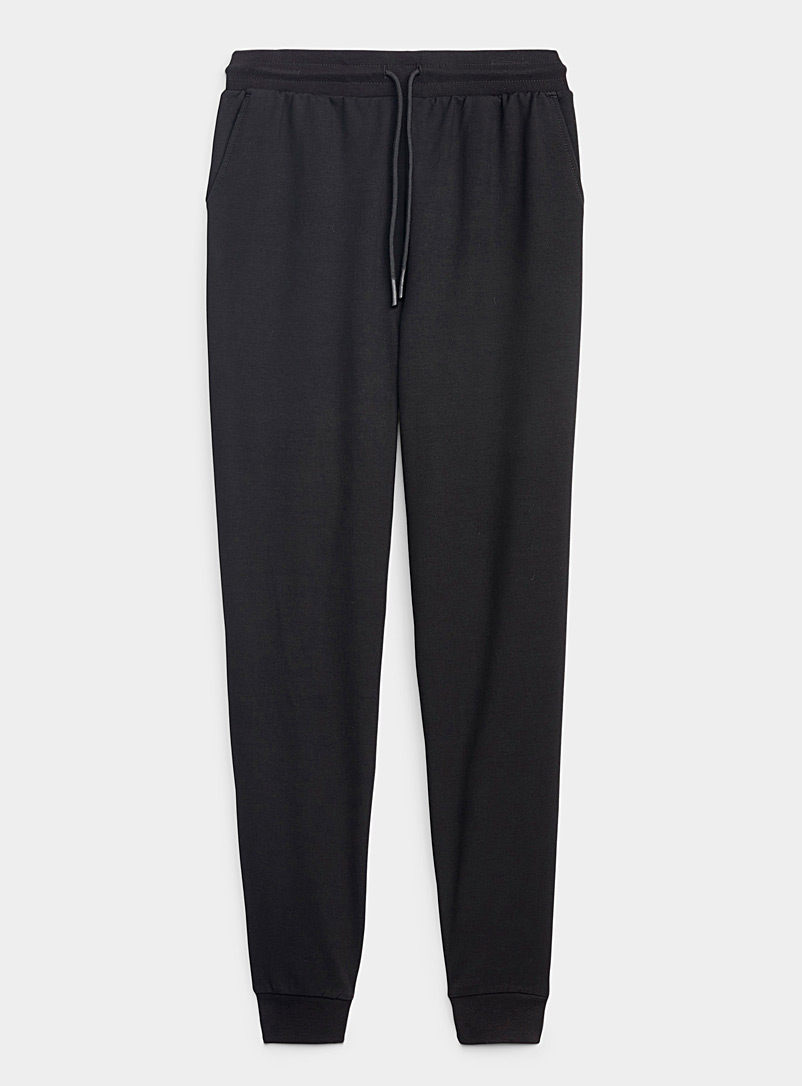 I.FIV5 Black Twill-lined jersey joggers for women