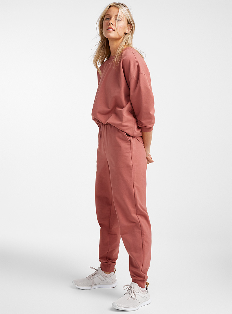 I.FIV5 Dusky Pink Twill-lined jersey joggers for women