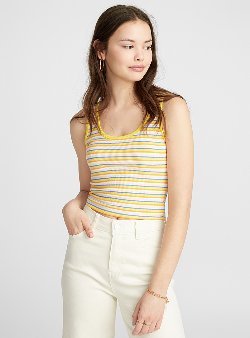 Cropped rib-knit cami - Crop Tops - White