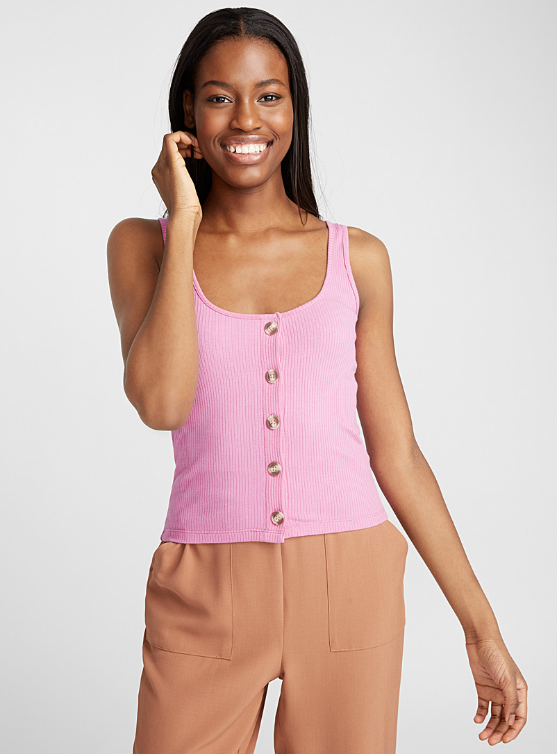 Ribbed button cami - Tank Tops - Lilacs