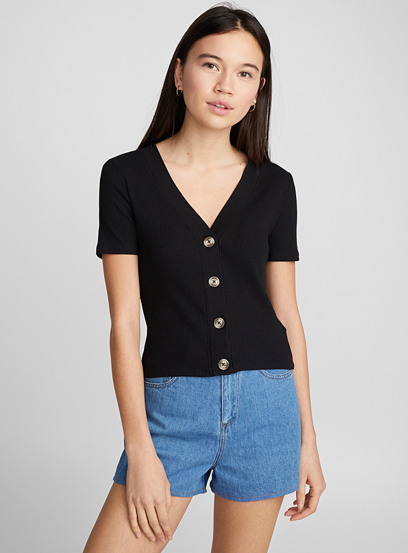 Buttoned tee - Short Sleeves & ¾ Sleeves - Black