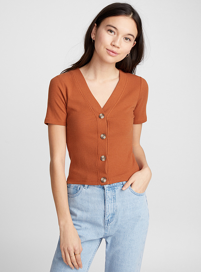 Buttoned tee - Short Sleeves & ¾ Sleeves - Brown