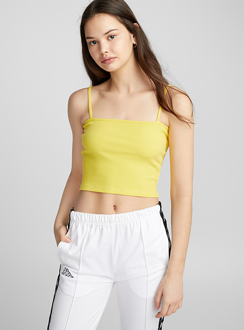 Cropped straight cami - Crop Tops - Medium Yellow