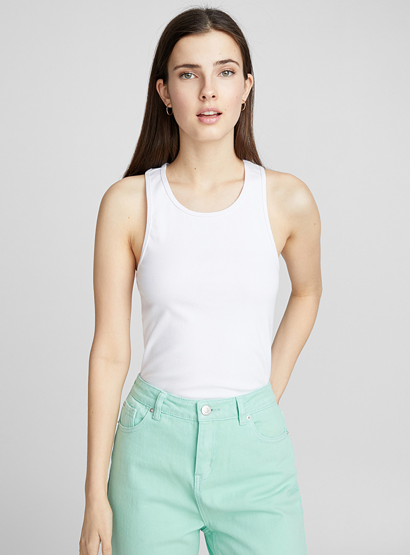 Ribbed racerback cami - Basic - White