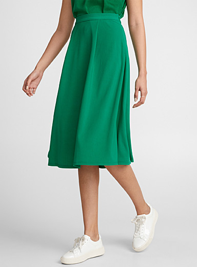 Box-pleat twill skirt