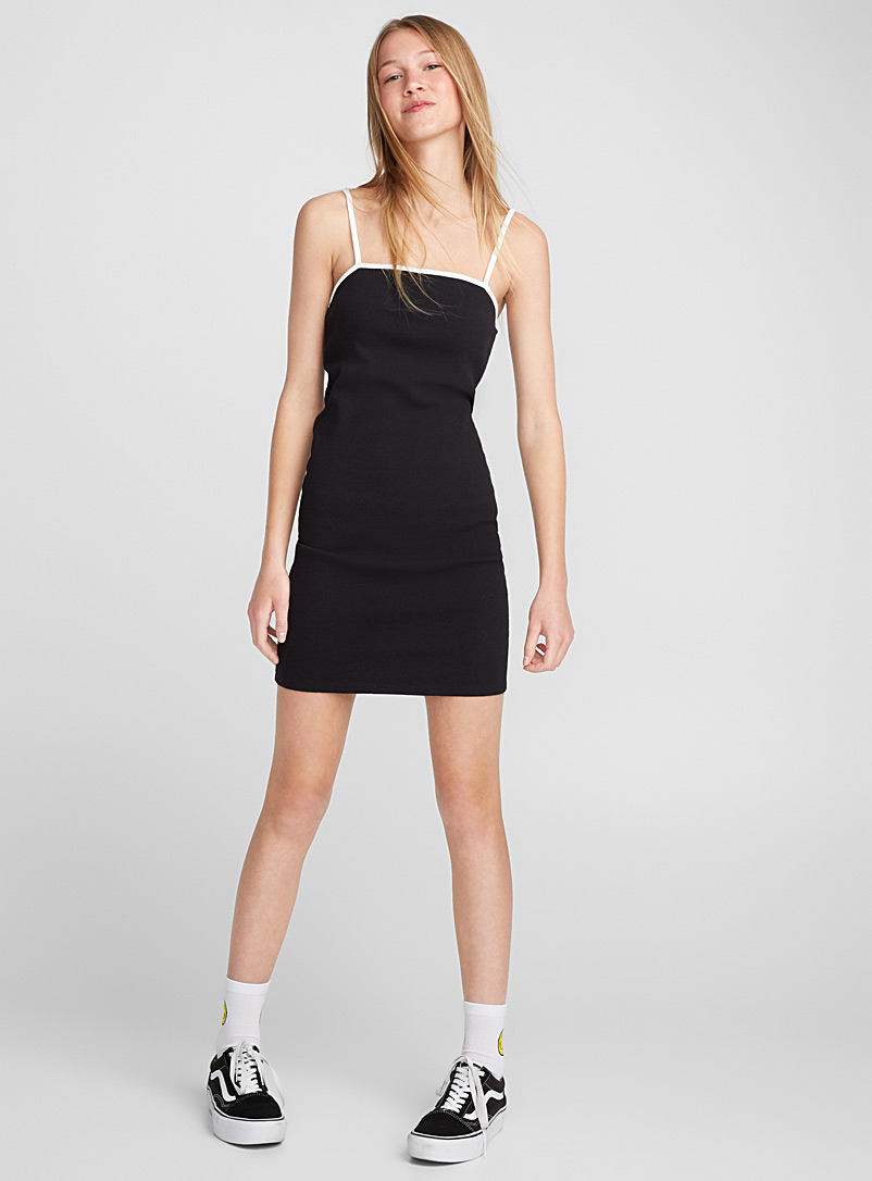 Ribbed square-neck dress - Bodycon - Black