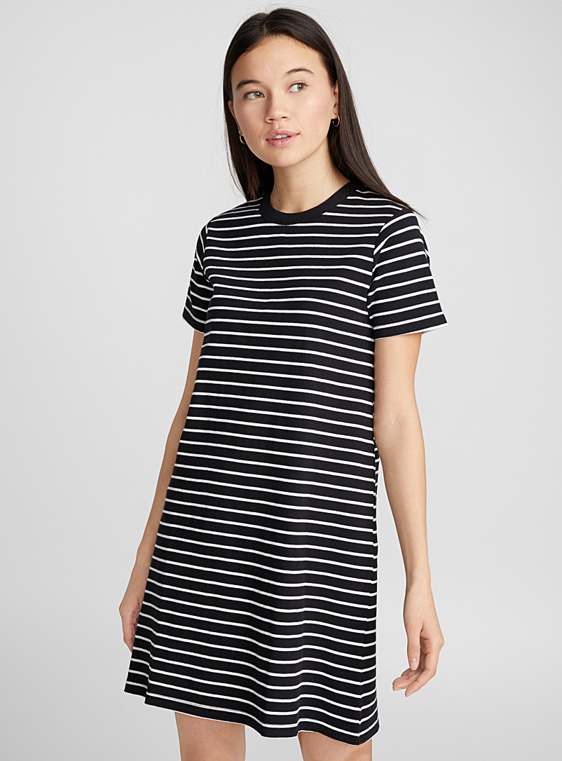 Infinite stripes ribbed dress - Fit & Flare - Black and White