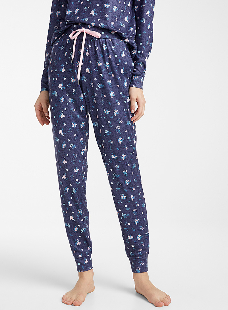 Miiyu x Twik Patterned Blue Delicate pattern joggers for women