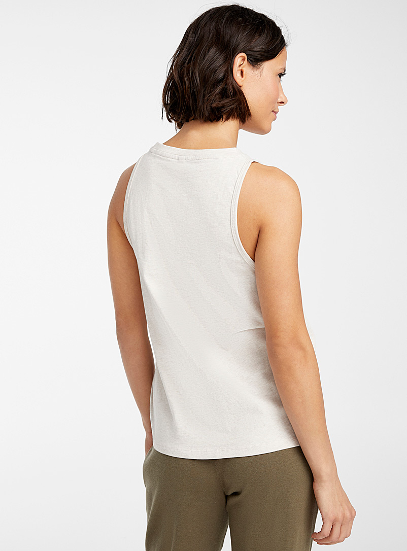 Organic cotton minimalist crew-neck cami - Sleepwear & Leisurewear - Ecru/Linen