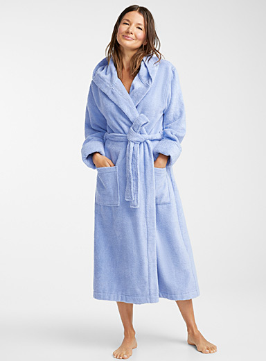 Organic cotton long hooded terry robe