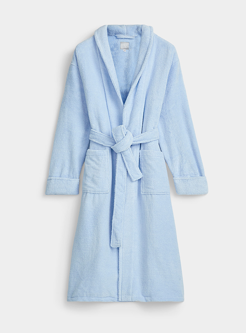 Miiyu Slate Blue Organic cotton long bouclé terry robe for women