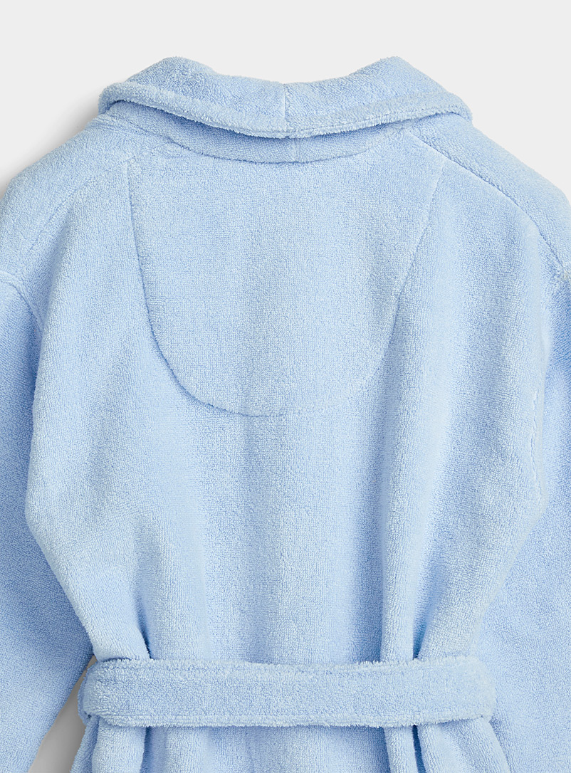 Miiyu Slate Blue Long organic cotton bouclé terry robe for women
