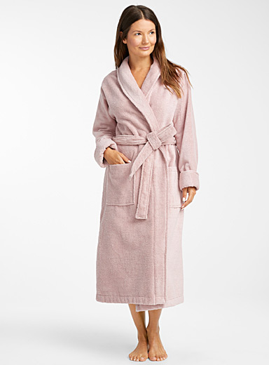 Organic cotton long bouclé terry robe