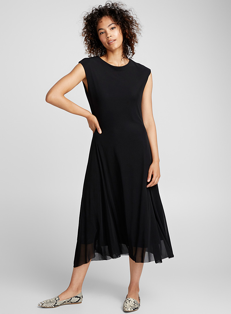 Contemporaine Black Micro-mesh flared midi dress for women