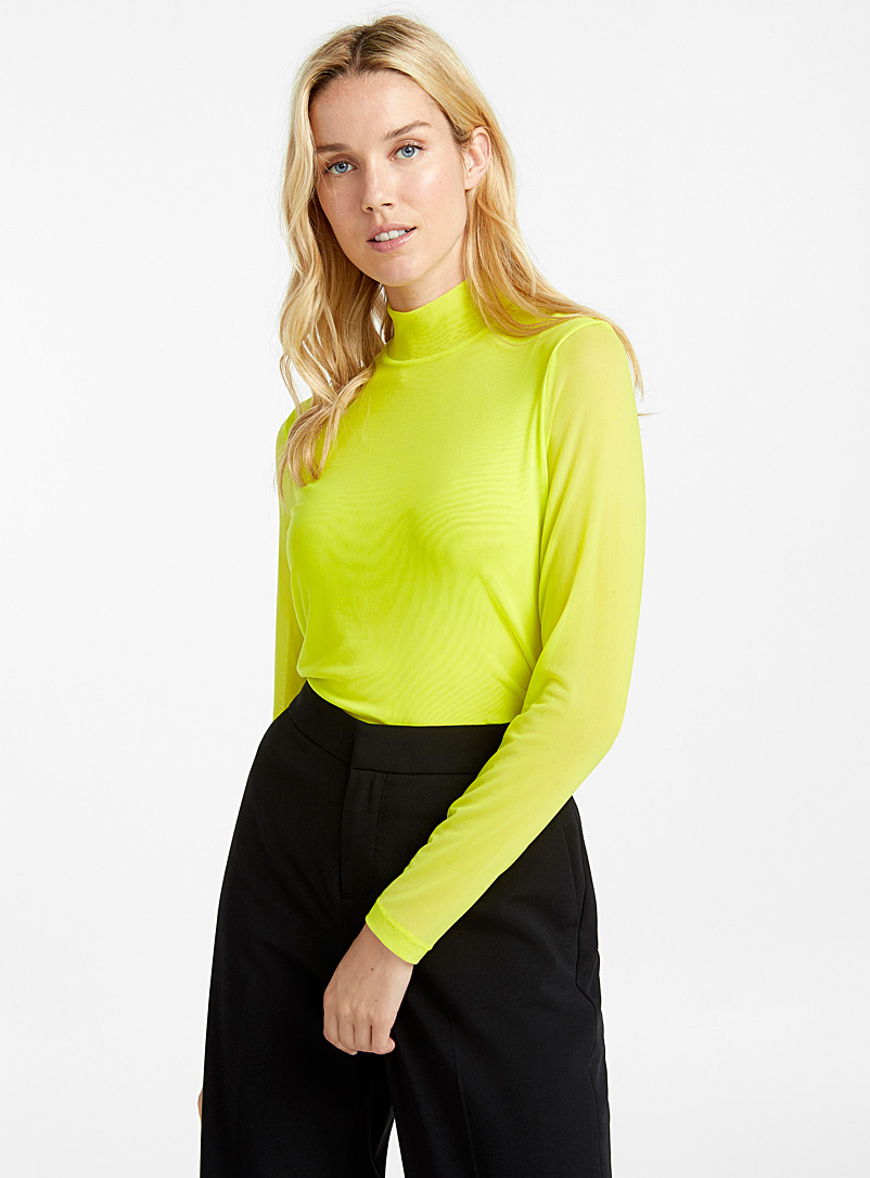 Micro-mesh high-neck tee - Long Sleeves - Lime Green