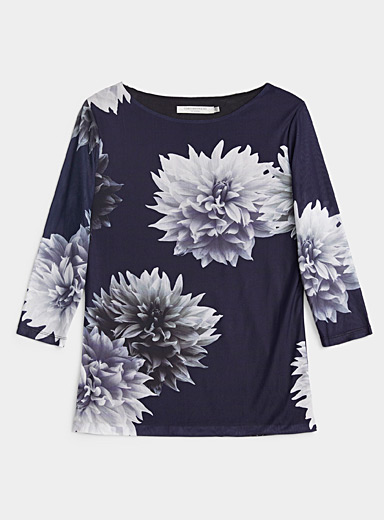 Contemporaine Dark Blue Printed micro-mesh boat-neck tee for women