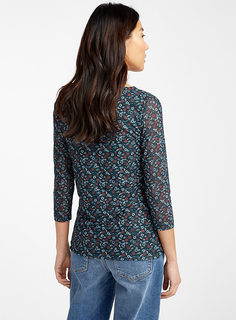 Contemporaine Patterned Black Printed micro-mesh boat-neck tee for women