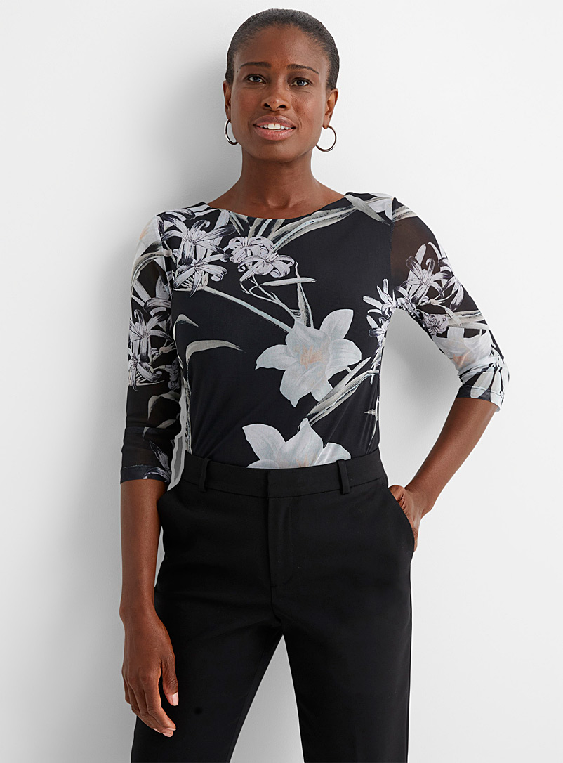 Contemporaine Patterned Grey Printed micro-mesh boat-neck tee for women