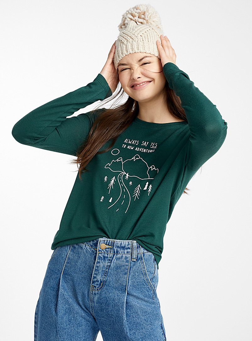 Accent print tee - Long Sleeves - Mossy Green