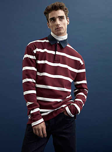 Mixed stripe rugby organic cotton polo