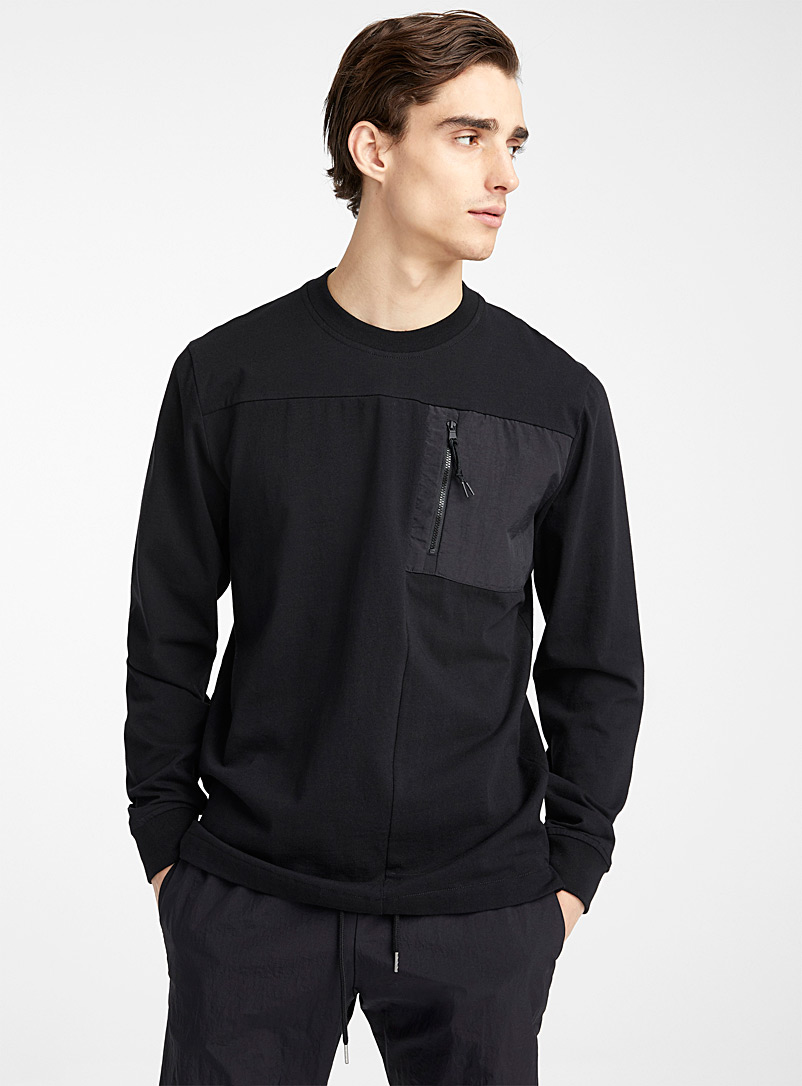 Utility pocket T-shirt - Long sleeves - Black