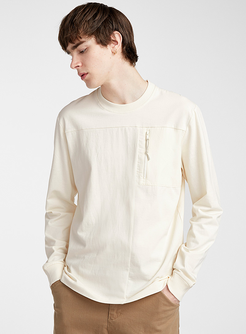 Le 31 Ivory White Utility pocket T-shirt for men