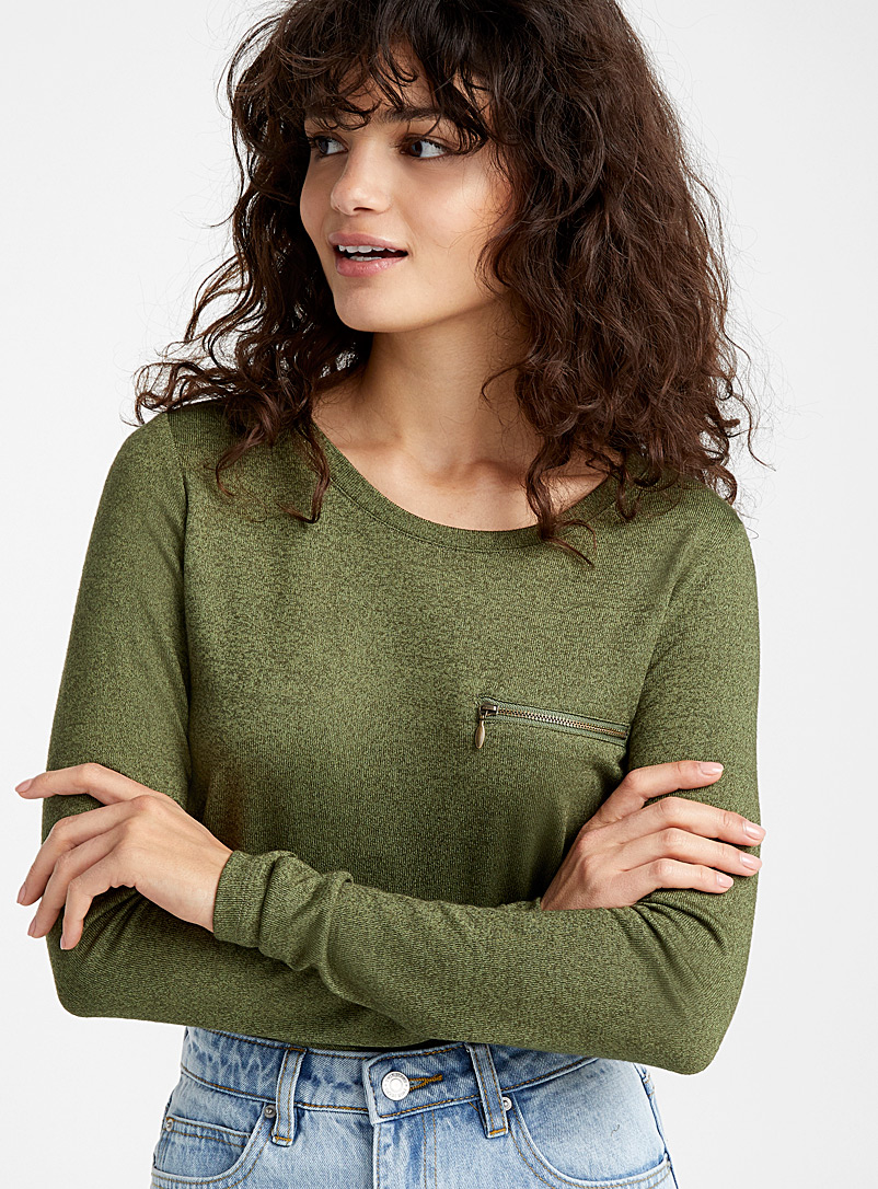 Accent zip tee - Long Sleeves - Patterned Green