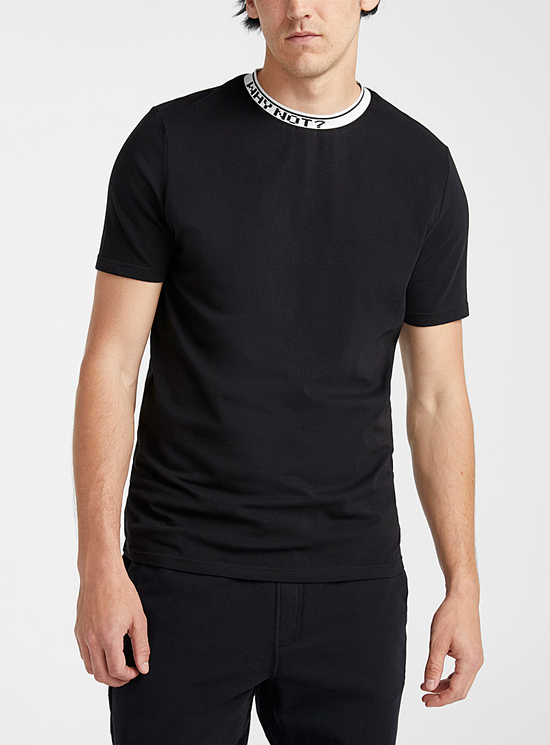 Le 31 Black Message collar T-shirt for men