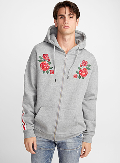Accent embroidery athletic zip hoodie
