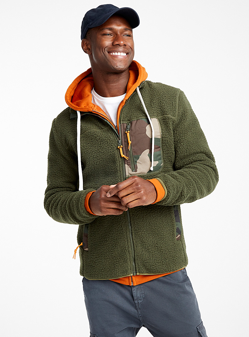 Sherpa polar fleece cardigan - Long sleeves - Mossy Green