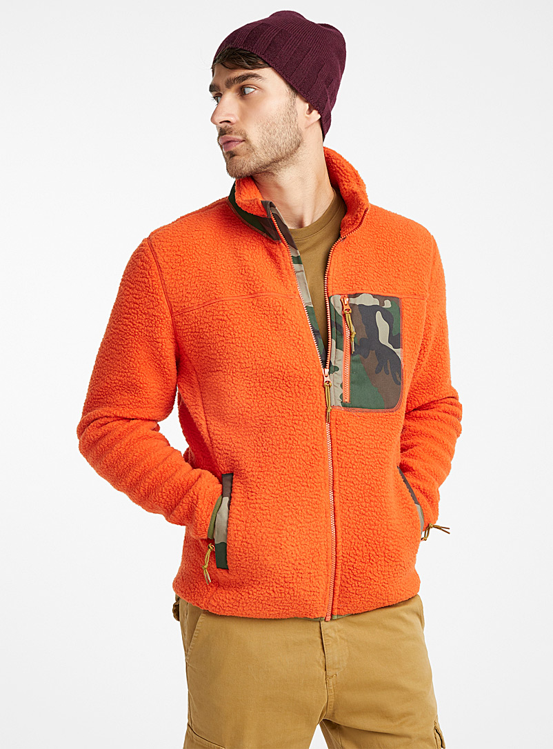 Sherpa polar fleece cardigan - Long sleeves - Orange