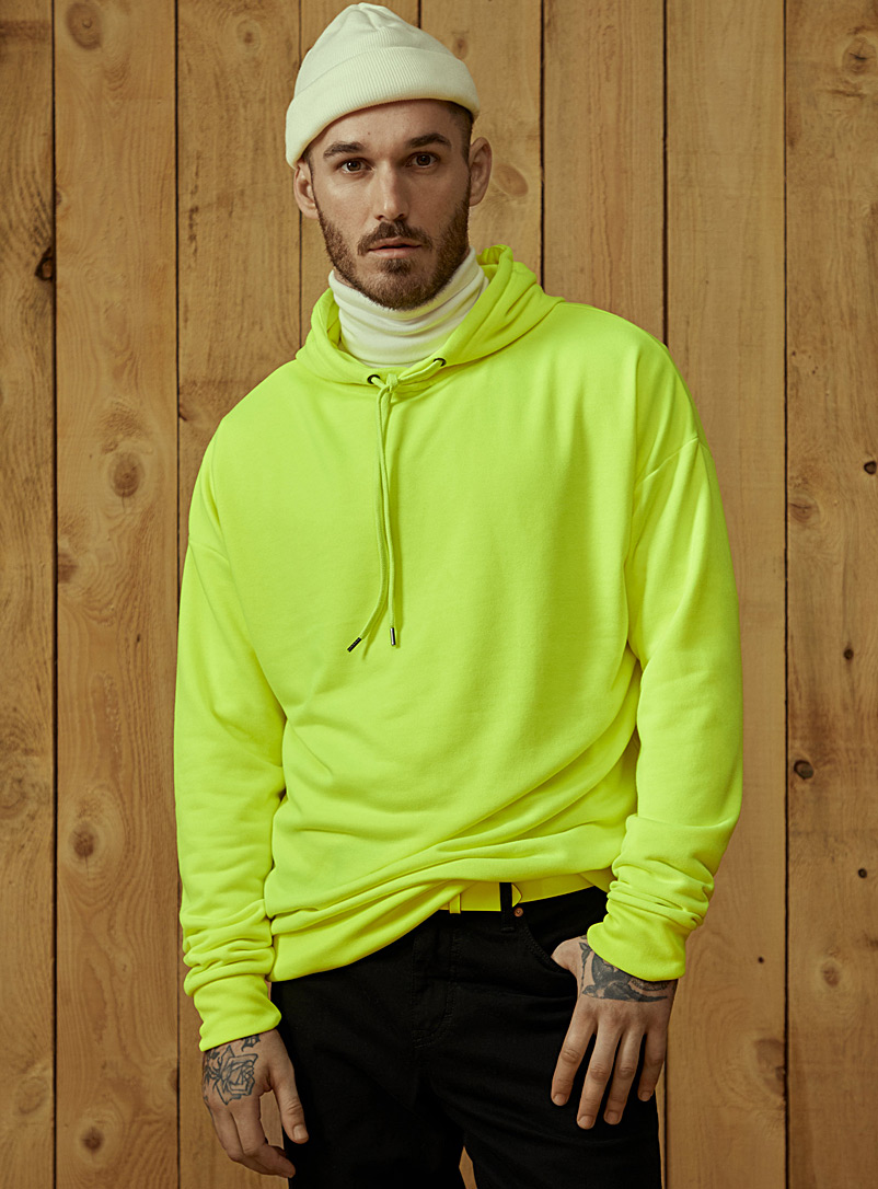 Le 31 Golden Yellow Bright neon hoodie for men