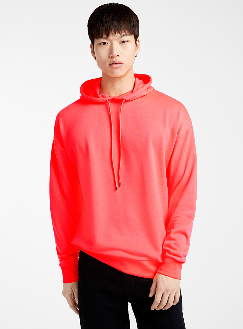 Le 31 Coral Bright neon hoodie for men